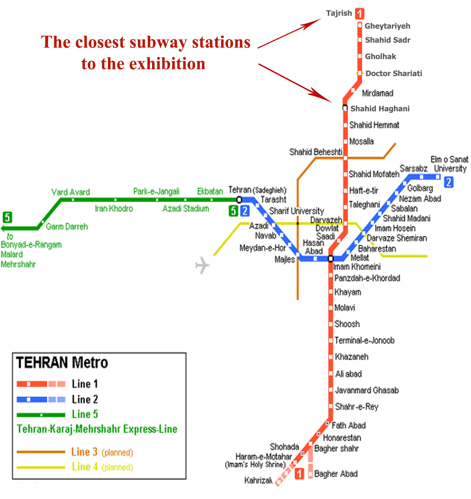 Tehran Subway Map.Iran International Exhibitions Co Access Roads Metro